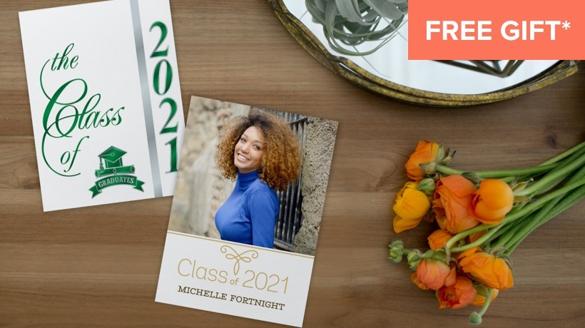"""An announcement with """"Class of 2021"""" and a school logo in green foil on the front and a photo of a young lady on the back. Free Gift* orange tag in top right corner."""