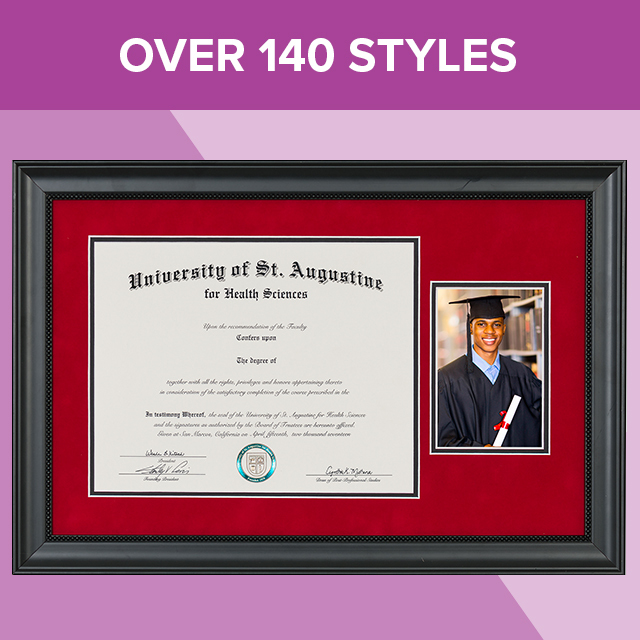 "Wooden diploma frame, with text that says ""Over 140 Styles""."