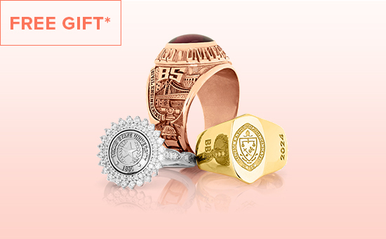 "Kendra Scott, college ring cluster.  With text that says ""Free gift"""