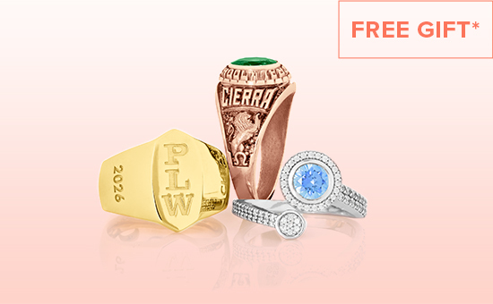 "Kendra Scott high school ring cluster. With text that says ""Free gift"""