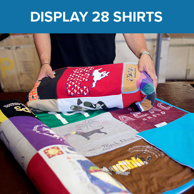 Two T-shirt quilts showing various shirt styles stitched together. Each shirt features a different color and logo.