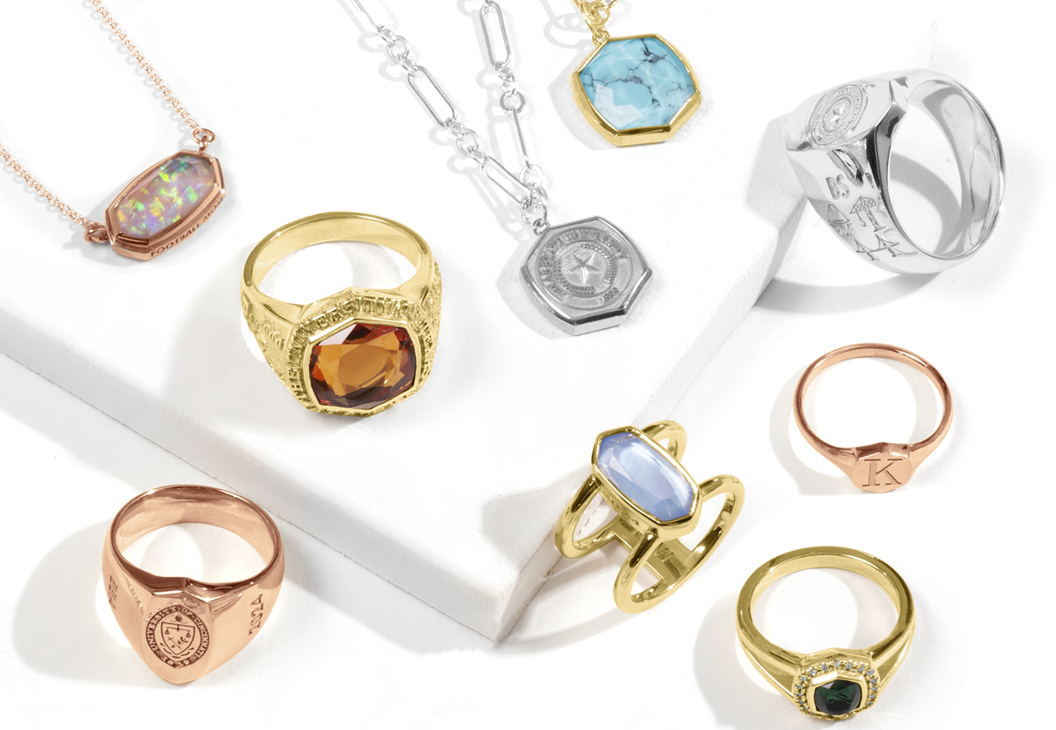 A group of Kendra Scott rings and Necklaces