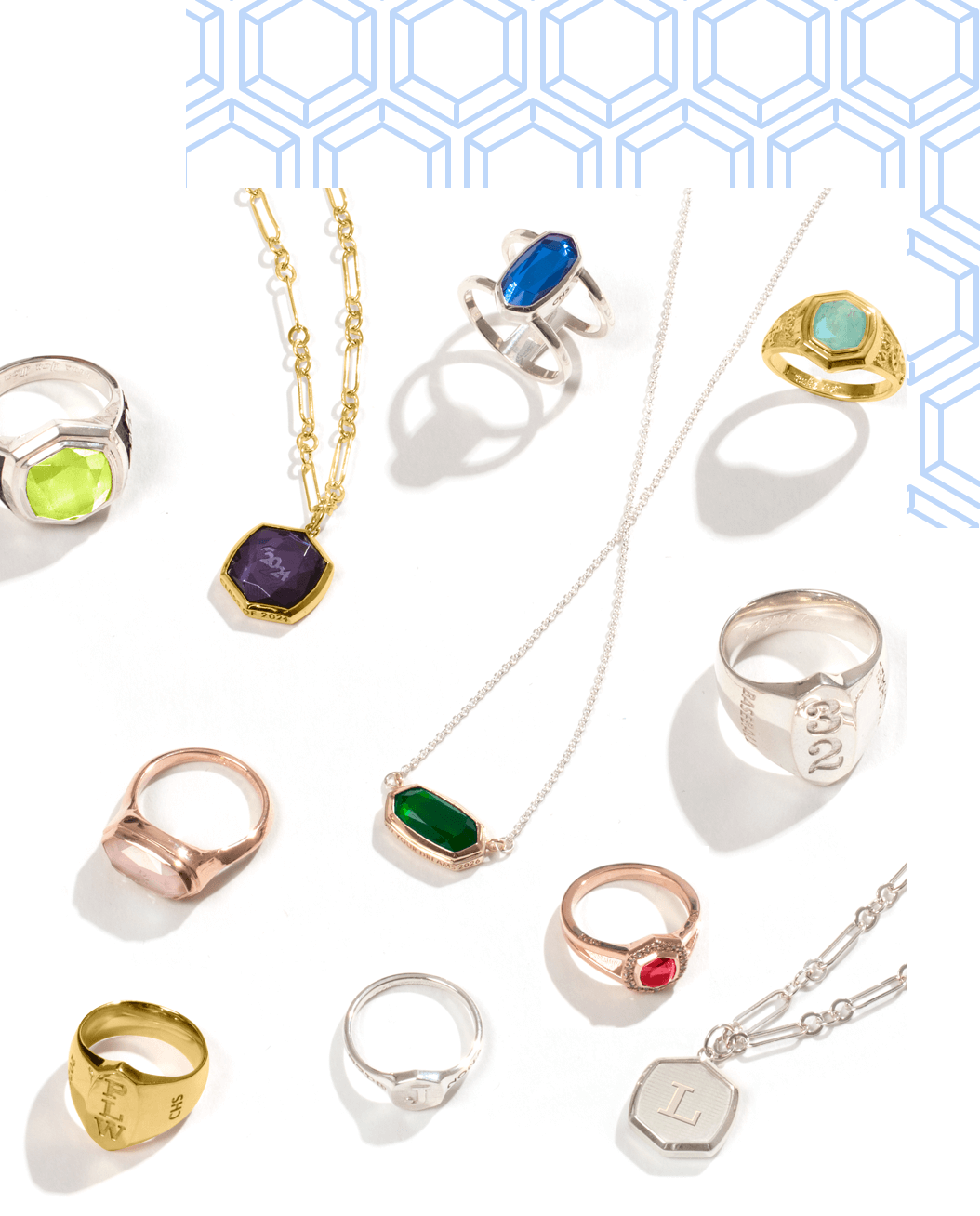 A group of Kendra Scott Highschool Rings, and Kendra Scott Necklaces