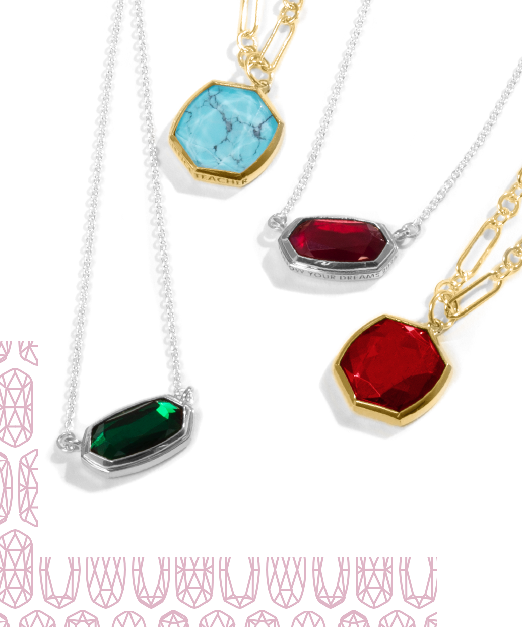 A group Of Kendra Scott Necklaces, from the Mom and Teacher Collection