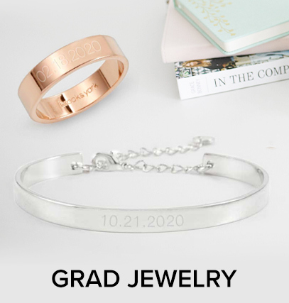 Text that says 'Grad Jewelry', under a ring, bracelet, and necklace