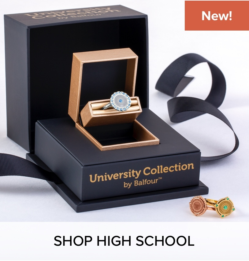 University Collection ring, in a gift box; next to an assortment of University Collection rings.