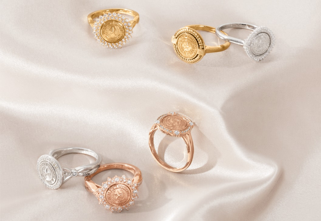 A group of University Collection, College rings