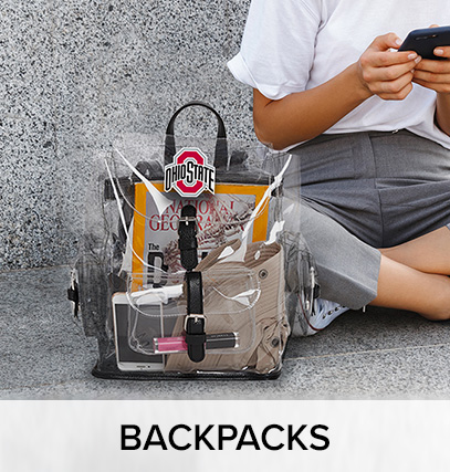 "a woman sitting net to a clear, ohio state bag; with a notebook , make up and other school itmes inside of it. bottom border of image has text that says ""backpacks"""