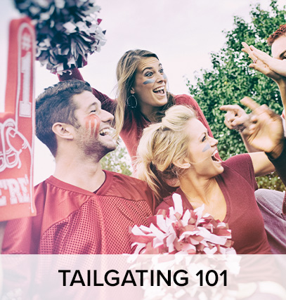 "a group of people with their faces painted; cheering for their team, with foam fingers and pom poms. Under the image is text that says ""tailgating 101"""