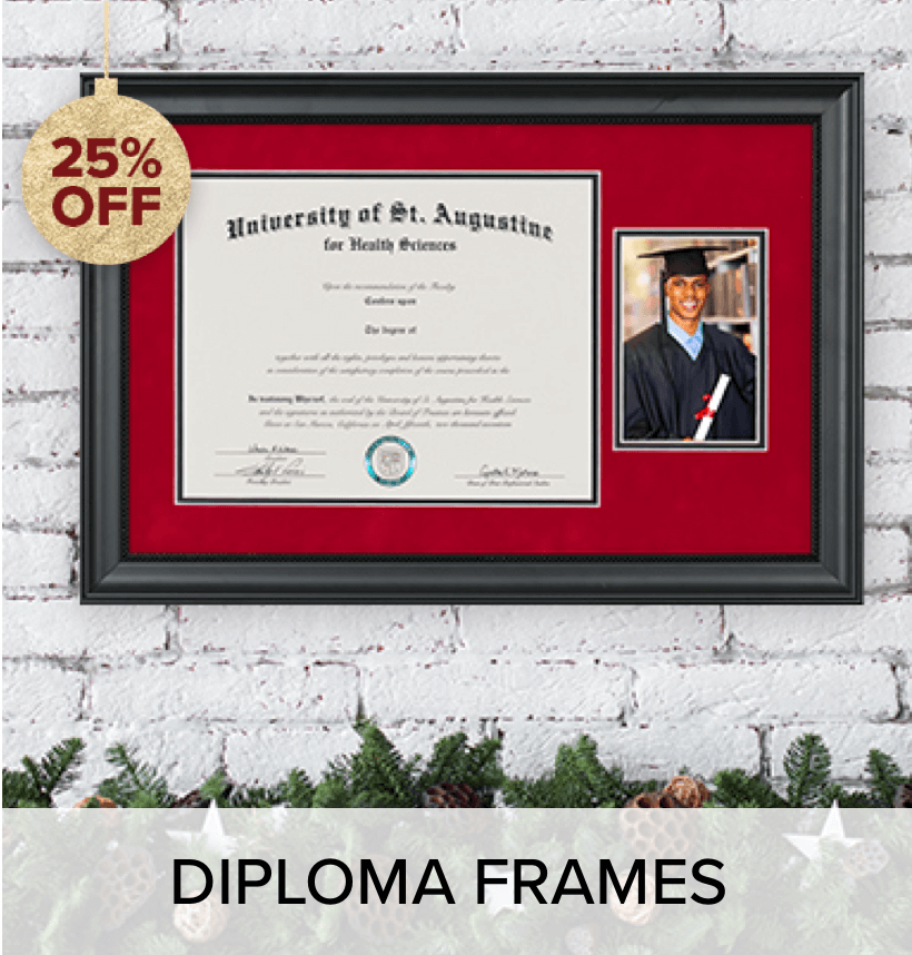 A diploma frame, on a wall; above holiday mantle decorations.