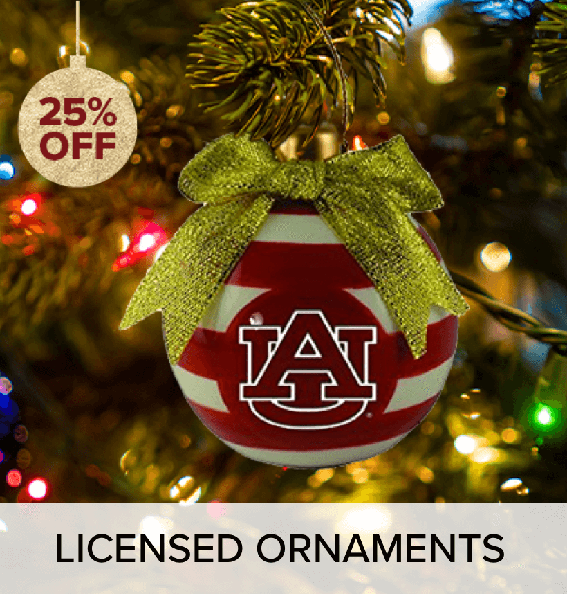 A Georgia Tech ornament, in a tree.