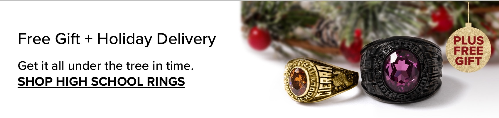 Two highschool rings, next to a wreath; with text 'Free Gift , plus holiday delivery'