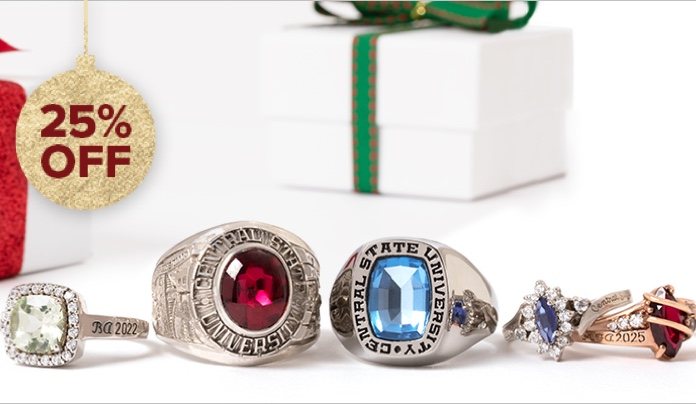 Collection of college rings , next to gift boxes.