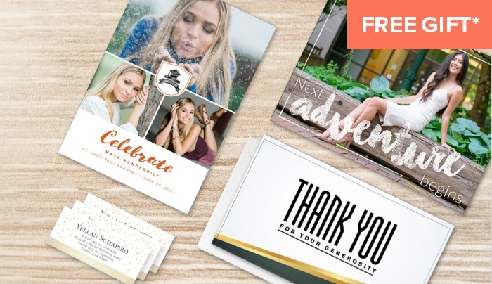 An assortment of printed photo announcements, name cards and thank you notes. Free Gift* orange tag in top right corner.