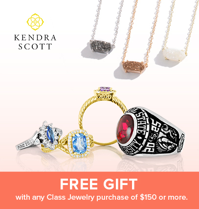 image of class rings , and kendra scott necklace with text promotion: free gift with purchase of any class jewelry