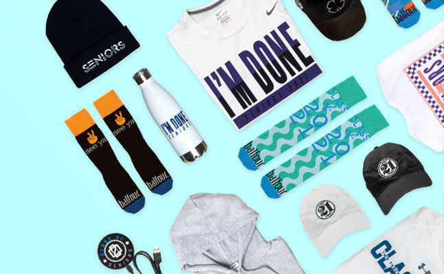 assortment of senior t-shirts, hats, socks, a sweatshirt, charging station, and water bottle