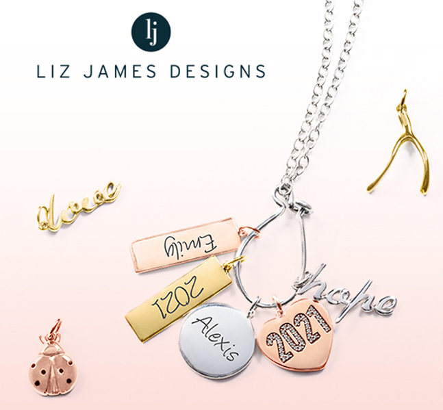 Charm necklace, next to an assortment of charms