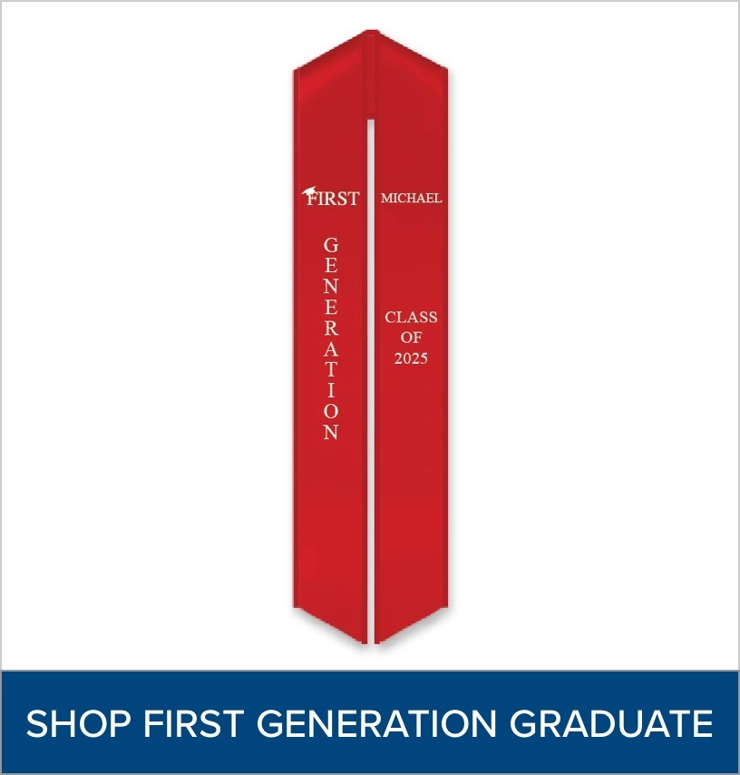 """Red Stole with a """"First Generation"""" logo"""