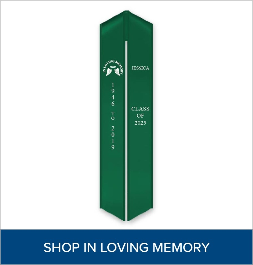 """Green Stole with an """"In Loving Memory"""" logo"""