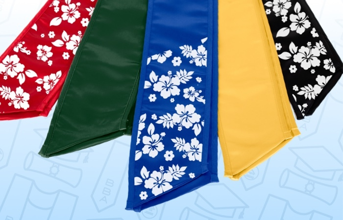 An assortment of colored stoles laid in a row.
